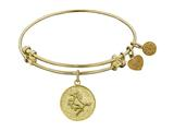 "Non-antique Yellow Stipple Finish Brass ""horse"" Angelica Expandable Bangle style: GEL1100"