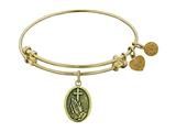 "Angelica Collection Antique Yellow Stipple Finish Brass ""faith"" Expandable Bangle style: GEL1103"