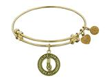 """Antique Yellow Stipple Finish Brass """"life`s A Beach"""" Angelica Expandable Bangle style: GEL1104"""