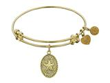 "Non-antique Yellow Stipple Finish Brass ""starfish""  Angelica Expandable Bangle style: GEL1107"