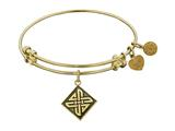 "Antique Yellow Smooth Finish Brass ""celtic Square  Knot"" Angelica Expandable Bangle"