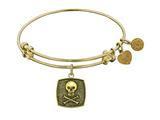 "Antique Yellow Stipple Finish Brass ""skull and Cross Bones"" Angelica Expandable Bangle"