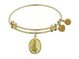 "Non-antique Yellow Stipple Finish Brass ""faith And  Trust"" Angelica Expandable Bangle"
