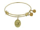 "Non-antique Yellow Stipple Finish Brass Initial ""a"" Angelica Expandable Bangle"