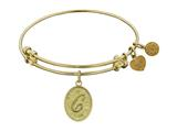 "Non-antique Yellow Stipple Finish Brass Initial ""c"" Angelica Expandable Bangle"