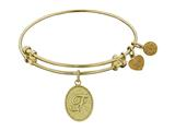 "Non-antique Yellow Stipple Finish Brass Initial ""f"" Angelica Expandable Bangle"