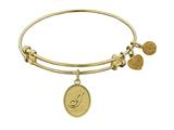 "Non-antique Yellow Stipple Finish Brass Initial ""j"" Angelica Expandable Bangle style: GEL1164"