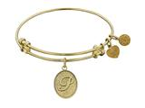 "Non-antique Yellow Stipple Finish Brass Initial ""p"" Angelica Expandable Bangle"