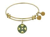 Antique Yellow Finish Brass June Cultured Pearl Birthstone Angelica Expandable Bangle style: GEL1187