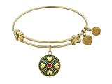 Antique Yellow Finish Brass July Simulated Birthstone Angelica Expandable Bangle style: GEL1188