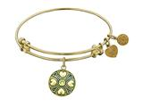Antique Yellow Finish Brass August Simulated Peridot Birthstone Angelica Expandable Bangle style: GEL1189