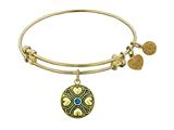 Angelica Collection Antique Yellow Finish Brass September Simulated Sapphire Expandable Bangle style: GEL1190