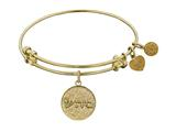 "Non-antique Yellow Stipple Finish Brass ""healing"" Shema-or Angelica Expandable Bangle"