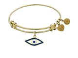 "Non-antique Yellow Stipple Finish Brass With Enamel ""evil Eye"" Angelica Expandable Bangle"