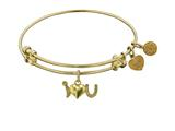 "Non-antique Yellow Stipple Finish Brass ""i-heart-u"" Angelica Expandable Bangle style: GEL1215"