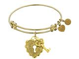 "Non-antique Yellow Stipple Finish Brass ""key To My Heart"" Angelica Expandable Bangle style: GEL1216"