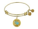 "Non-antique Yellow Stipple Finish Brass Enamel ""baby Boy"" Angelica Expandable Bangle style: GEL1217"