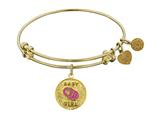 "Non-antique Yellow Stipple Finish Brass Enamel ""baby Girl"" Angelica Expandable Bangle"