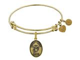 Angelica Brass with Yellow Finish Proud Mom U.S. Marine Corps Oval Expandable Bangle style: GEL1279