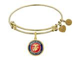 Brass with Yellow Finish Enamel U.S. Marine Corps Round Angelica Expandable Bangle style: GEL1281