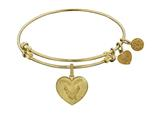 Brass with Yellow Finish Proud Wife U.S. Air Force Heart Shaped Angelica Expandable Bangle style: GEL1292