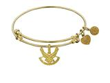 Brass with Yellow Finish U.S. Air Force Symbol Angelica Expandable Bangle style: GEL1293