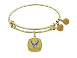 Brass with Yellow Finish U.S. Air Force Enamel Symbol Angelica Expandable Bangle style: GEL1294