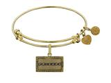 Angelica Brass with Yellow Finish Friends Logo Design Expandable Bangle style: GEL1301