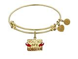 "Angelica Brass with Yellow Finish Friends You""re my Lobster Expandable Bangle style: GEL1304"