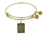 Angelica Brass with Yellow Finish Proud Mom U.S. Army Expandable Bangle style: GEL1306
