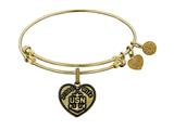 Brass with Yellow Finish Proud Wife U.S. Navy Heart Shaped Angelica Expandable Bangle style: GEL1311