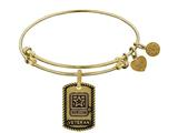 Angelica Collection Brass with Yellow Finish U.S. Army Veteran Expandable Bangle style: GEL1318