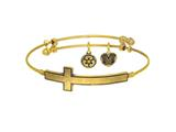 Brass with Yellow Finish Sideways Cross Angelica Expandable Bangle style: GEL1337