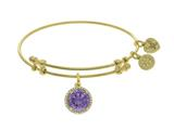 Brass With June Birth Month On Yellow Angelica Collection Bangle style: GEL1420
