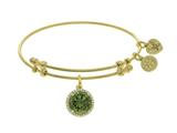 Brass With August Birth Month On Yellow Angelica Collection Bangle style: GEL1422