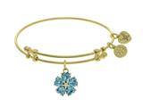 Brass With Yellow 5-heart Flower Charm With Lite Blue+small Center White Cz On Yellow Bangle style: GEL1432