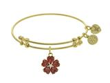 Brass With Yellow 5-heart Flower Charm With Red +white Small Center Cz On Yellow Bangle style: GEL1433