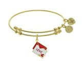 Brass With Yellow Red+white Enamel Love Letter With Heart+arrow Charm On Yellow Bangle style: GEL1462