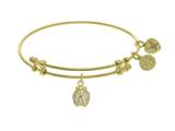 Brass With Yellow Finish Charm With White CZ Ladybug On Yellow Angelica Collection Bangle style: GEL1524