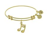 Brass With Yellow Music Sign Charm On Yellow Angel Ica Bangle style: GEL1722