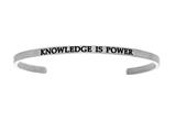"Stainless Steel ""knowledge Is Power""diamond Cuff Bangle style: INT5027"