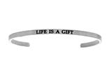 "Intuition Stainless Steel ""life Is A Gift""Cuff Bangle style: INT5028"