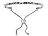 "Intuition Stainless Steel ""a Friend Is A Lifetime Gift""adjustable Friendship Bracelet style: INT7000"