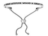 "Intuition Stainless Steel ""a Great Attitude Means A Great Day""adjustable Friendship Bracelet style: INT7001"