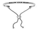 "Stainless Steel ""follow Your Heart""adjustable Friendship Bracelet style: INT7011"