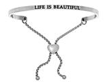 "Intuition Stainless Steel ""life Is Beautiful""adjustable Friendship Bracelet style: INT7030"