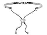 "Stainless Steel ""live Love Laugh""adjustable Friendship Bracelet style: INT7032"