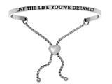 "Intuition Stainless Steel ""live The Life You've Dreamed""adjustable Friendship Bracelet style: INT7033"
