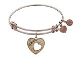 "Antique Pink Stipple Finish Brass Heart With ""mom And Open Heart"" Angelica Expandable Bangle"