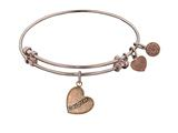 "Angelica Collection Antique Pink Stipple Finish Brass ""daughter Heart"" Expandable Bangle Complementing PGEL1004 style: PGEL1005"